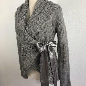 XXI Wool Blend Wrap Sweater w Satin Tie Ribbon